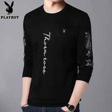 Playboy men's long sleeved T-shirt, round neck sweater, autumn cotton men's fashion Jersey, printed clothes.