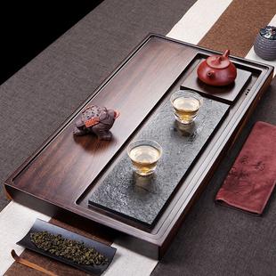 森煜 黑檀木茶盘 整块实木功夫茶具 家用茶海乌金石茶盘简约茶台