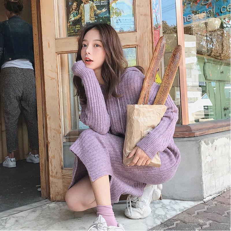 秋季韩版针织连衣裙女秋冬长袖开叉百搭连帽中长款过膝打底毛衣裙