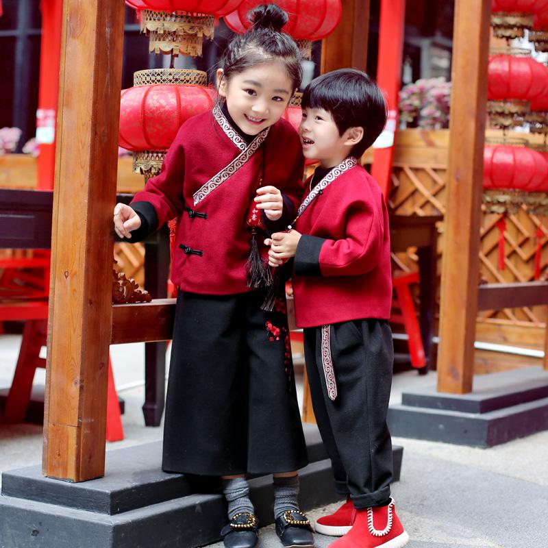 女童装儿童唐装冬汉服套装宝宝-2岁新年男过年衣服喜庆拜年中国风