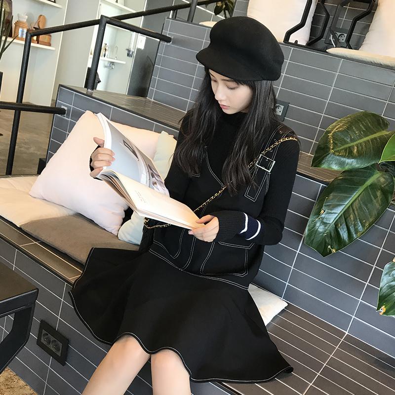 背带裙连衣裙秋装2017新款女ulzzang黑色短裙秋冬季chic吊带裙子