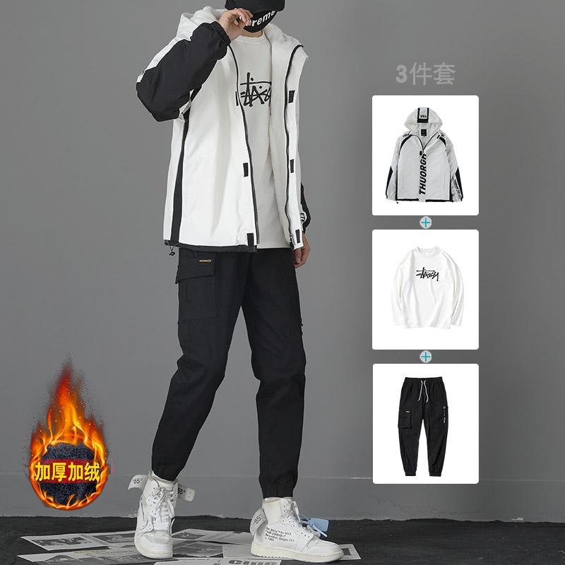 外套男韩版潮流男装一套搭配帅气棉衣服秋冬套装加绒加厚工装夹克