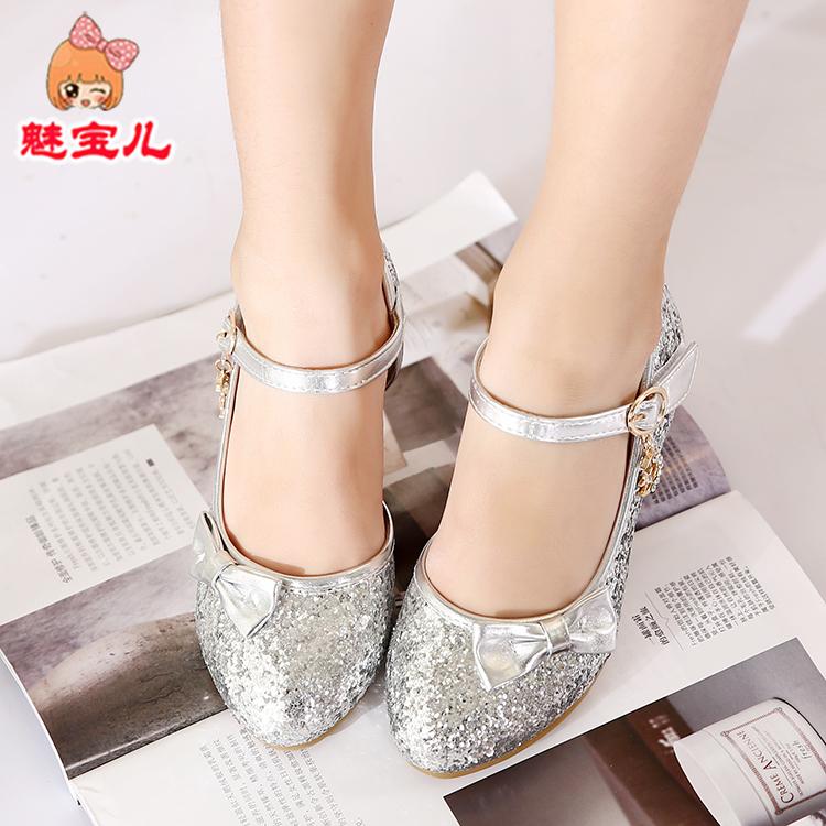 童鞋女童皮鞋公主鞋儿童时尚单鞋2018春款韩版小女孩高跟演出凉鞋