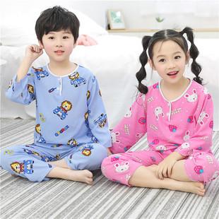 夏季棉绸儿童睡衣男孩男童长袖薄款女童孩宝宝绵绸夏天套装家居服