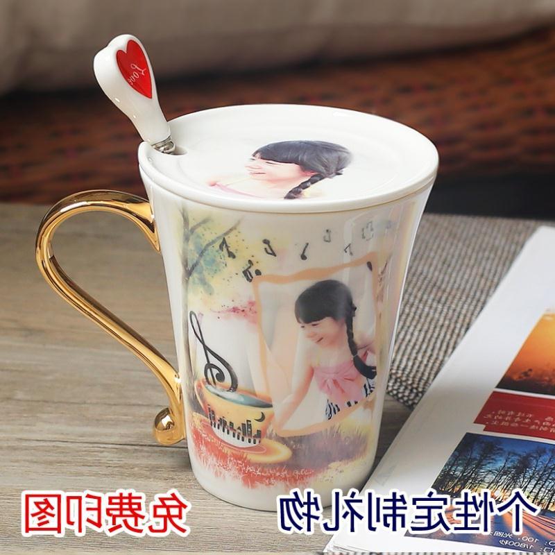 非变色杯创意个性杯子 订制陶瓷马克杯 定做照片情侣水杯 金把彩
