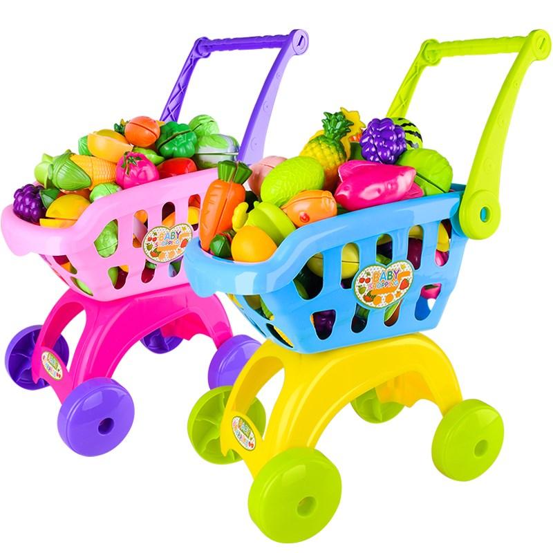 过家家男孩女孩超市购物车儿童玩具切水果切切看宝宝娃娃小手推车