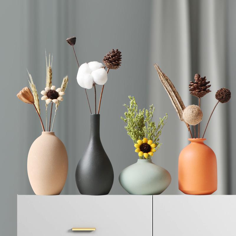小干花居家装饰摆件莫兰迪陶瓷花瓶客厅电视柜花插北欧风摆饰花瓶