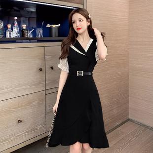 法式连衣裙女2020新款春夏季韩版收腰显瘦鱼尾裙名媛气质黑色裙子