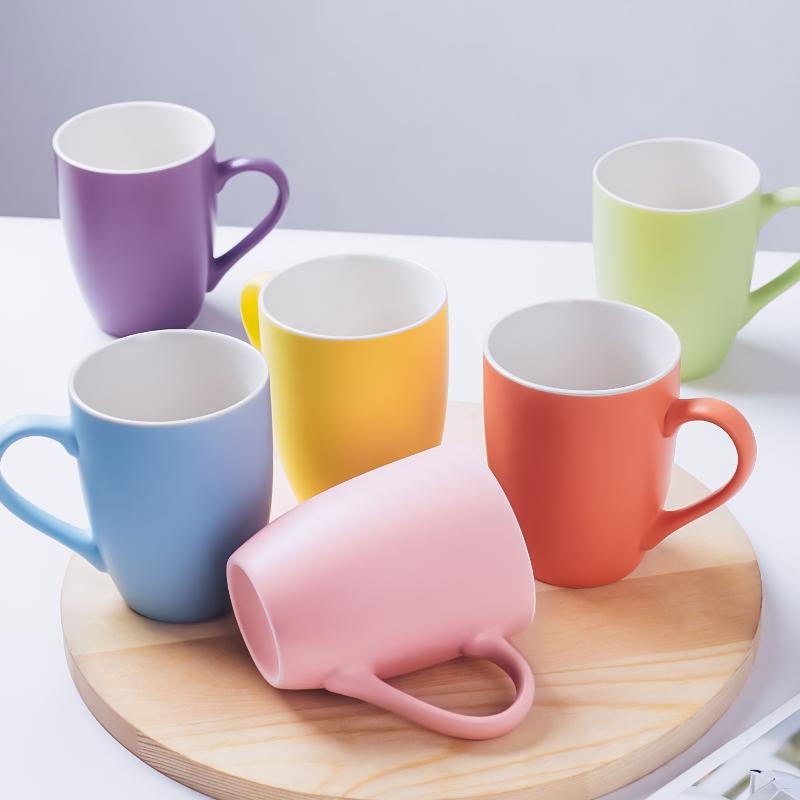 创意简约马卡龙色家用陶瓷杯子客厅早餐水杯小清新马克杯6个套装