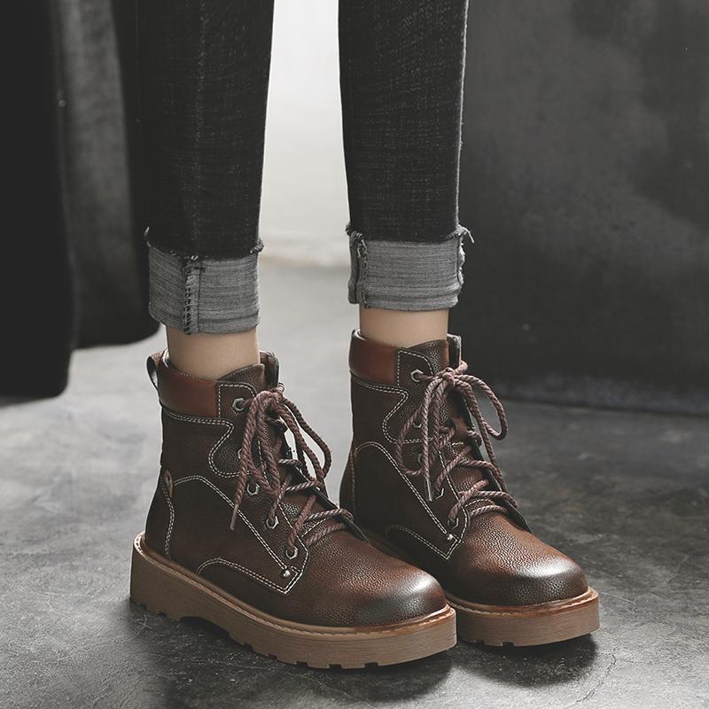 马丁靴女英伦风2019新款百搭秋冬季棉鞋子女粗跟帅气加绒厚底短靴