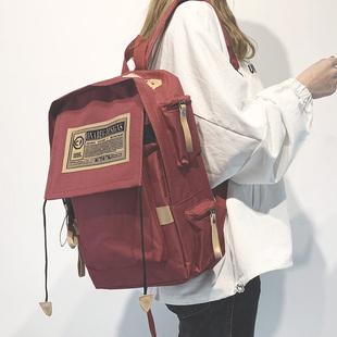 帆布韩版双肩包男电脑包学院风大学生书包女15.6寸大容量旅行背包