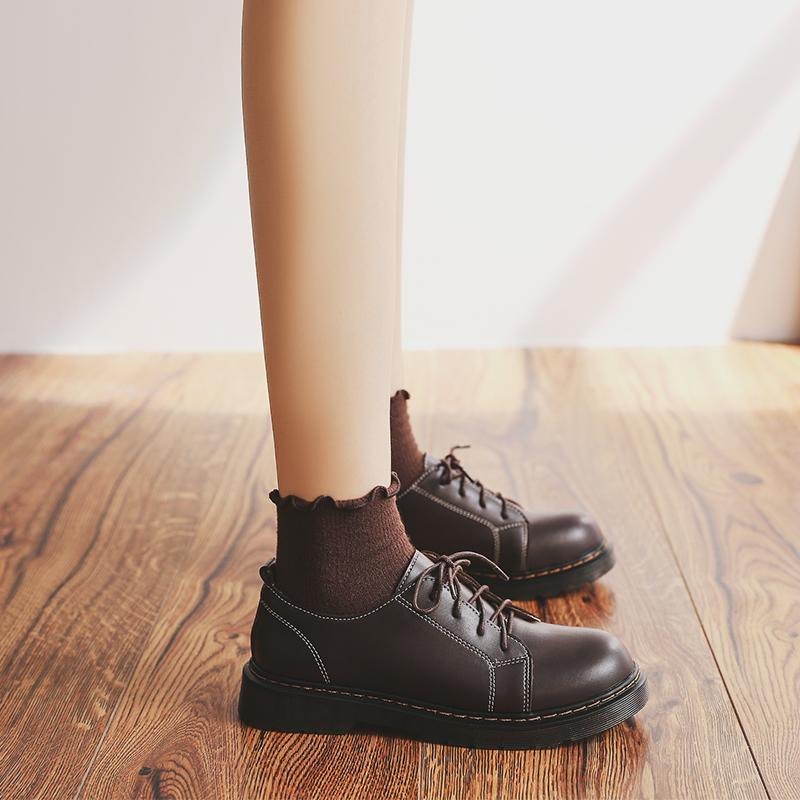 伯爵猫小皮鞋女英伦学生百搭日系软妹复古学院风圆头平底马丁单鞋