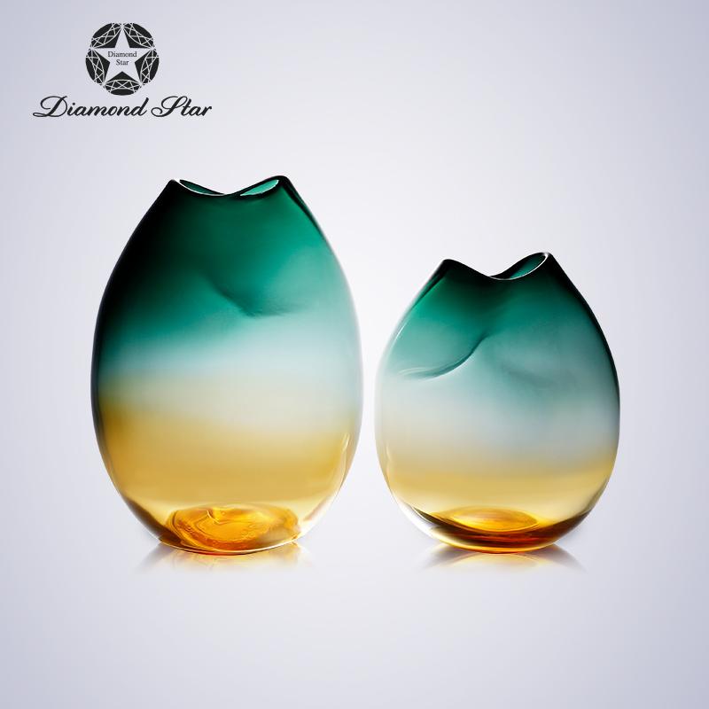 钻石星北欧现代轻奢彩色玻璃大花瓶创意摆件客厅插花套装干花花器