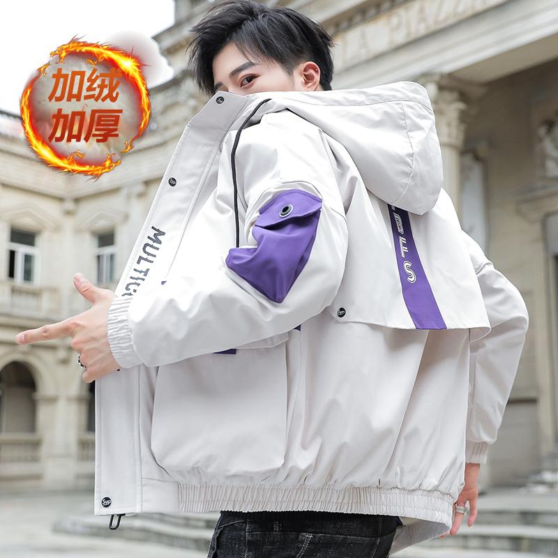 冬天加厚加绒外套男士工装青少年初中学生夹克冬季棉衣服韩版潮流