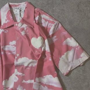 Raincome 原创火烧云粉色衬衫 毛绒绒爱心装饰夏威夷短袖免烫衬衣