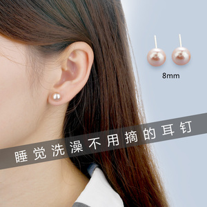 999 sterling silver natural pearl earrings female simple 2019 new tide earrings small and indifferent wind pearl earrings