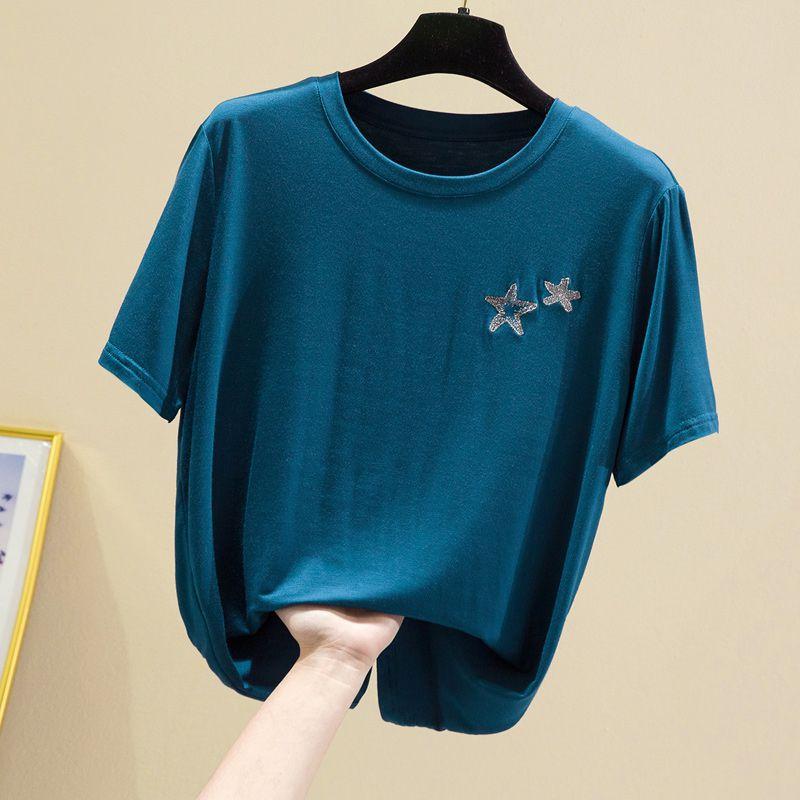 悠伦莫代尔T恤女短袖夏季薄款圆领面膜t上衣宽松垂坠感半袖打底衫