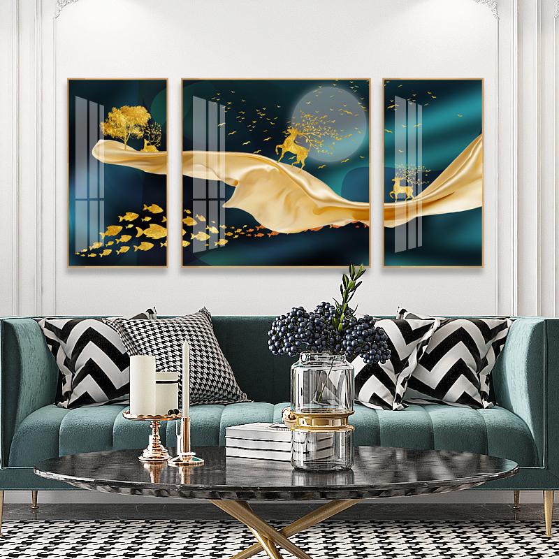 客厅装饰画沙发背景墙三联画晶瓷画现代简约挂画北欧餐厅壁画轻奢