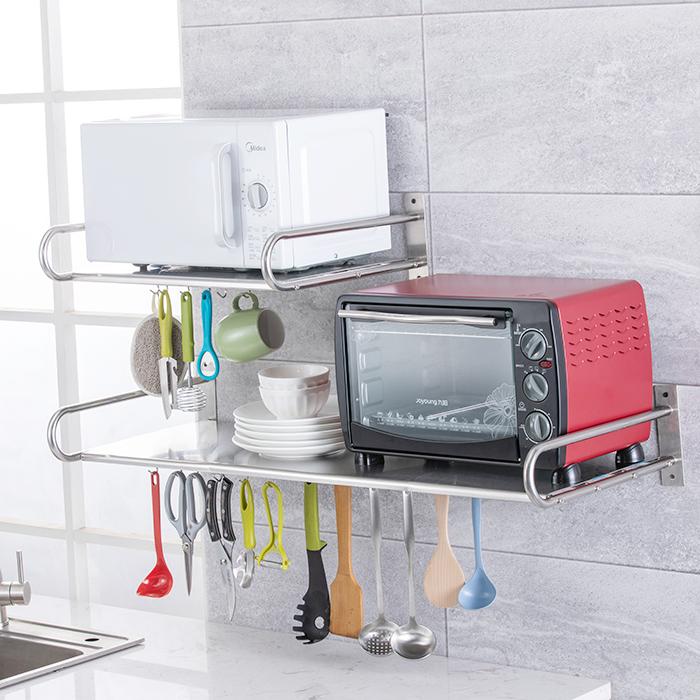 厨房置物架不锈钢微波炉烤箱电器壁挂墙上收纳多用省空间家用加厚