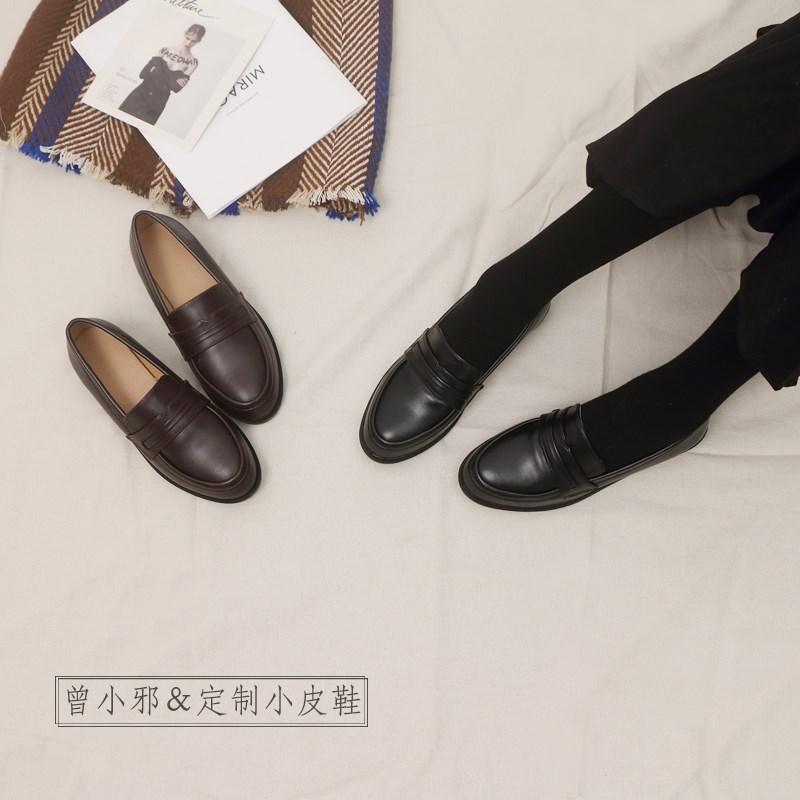 英伦风女士鞋子2019秋季新款复古小皮鞋女生粗跟学生大码百搭单鞋