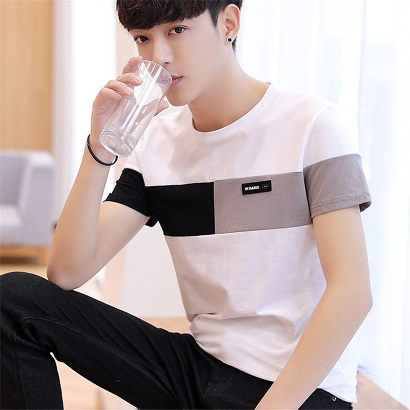 男士短袖t恤韩版潮流圆领半袖2019新款夏季男装修身帅气体桖
