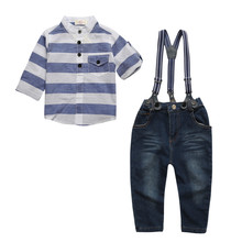 Children costumes 3pcs Spring and Autumn Fashion Boys Long Sleeve T-shirt + Belt + Trousers Three-piece Suit Explosion