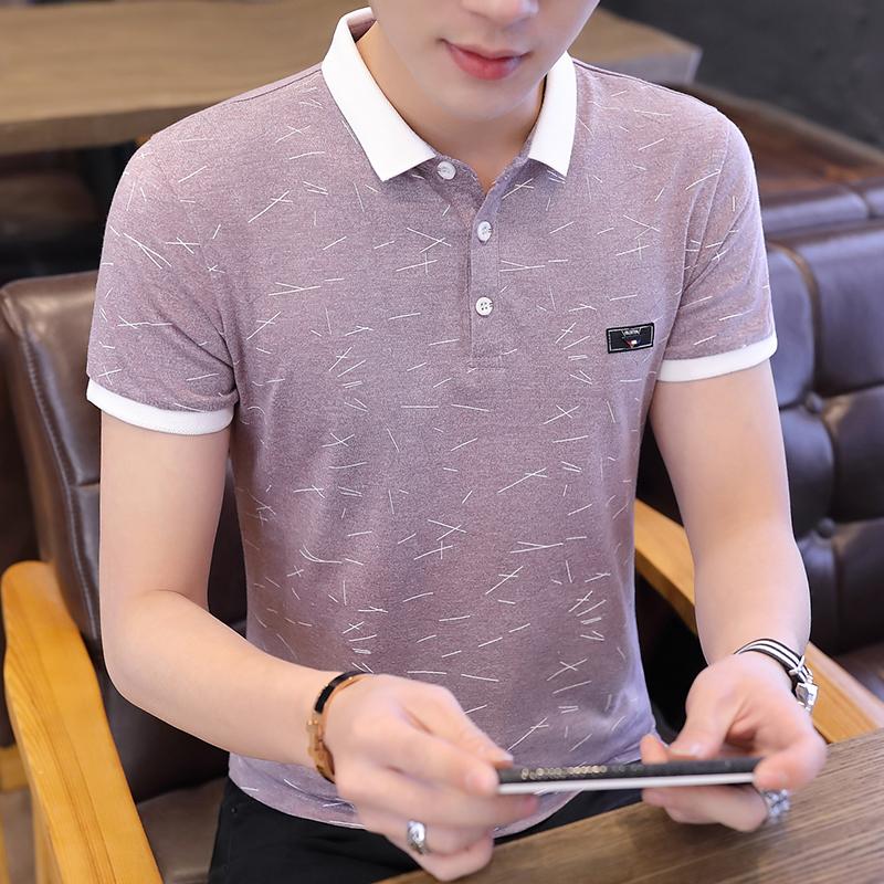 男士2019夏季新款短袖t恤韩版时尚青年半袖polo衫潮流男装上衣服