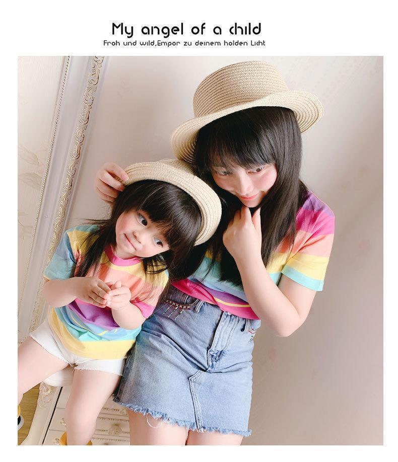上衣女童彩虹亲子装夏网红t恤母女装2019新款纯棉短袖妈妈洋气