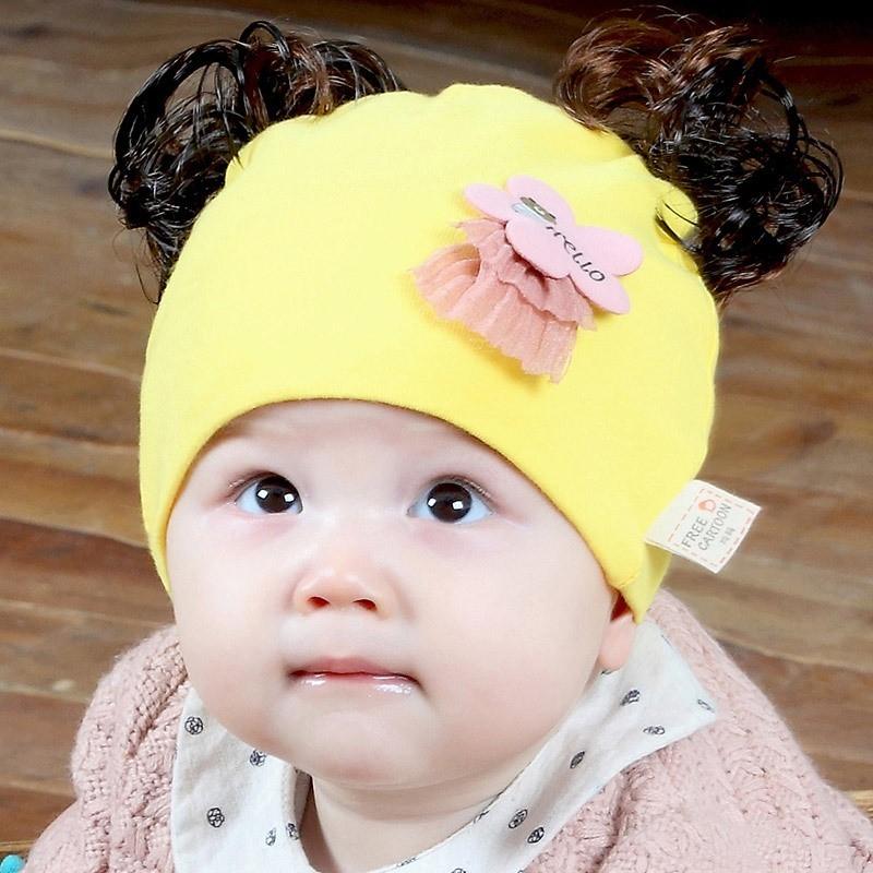 新生儿帽子春秋季0-3-6个月纯棉宝宝秋天假发帽婴儿帽男女孩儿童8