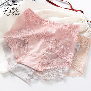 Sexy panties female lace mid-high waist abdomen ladies summer thin section breathable mesh gauze-free triangle briefs large size