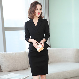 Fashionable OL suit collar black waiter overalls one-piece skirt professional dress women 2019 new