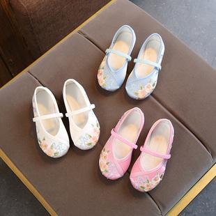 汉服女童绣花鞋老北京儿童布鞋中国风宝宝公主鞋小孩古风古装鞋子图片
