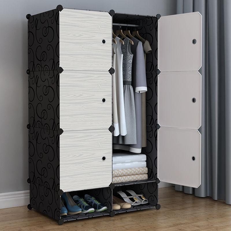 简易衣柜收纳架塑料布柜子储物柜组装实木家具简约推拉门不锈钢管