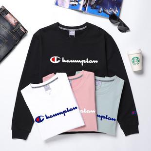 Channplan新款男女同款情侣装刺绣长袖T恤圆领卫衣简约时尚百搭图片