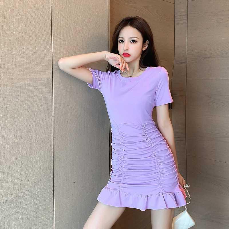 点击查看商品:香芋紫紫色连衣裙收腰显瘦短裙小个子法式水蜜桃橙色约会小裙子夏