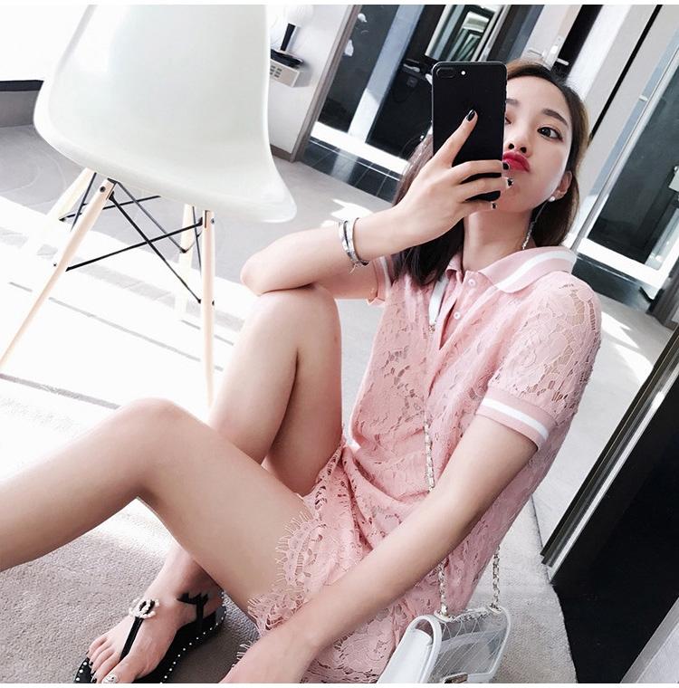 小个子短袖蕾丝连衣裙女夏2019新款女神气质甜美小香风直筒POLO裙