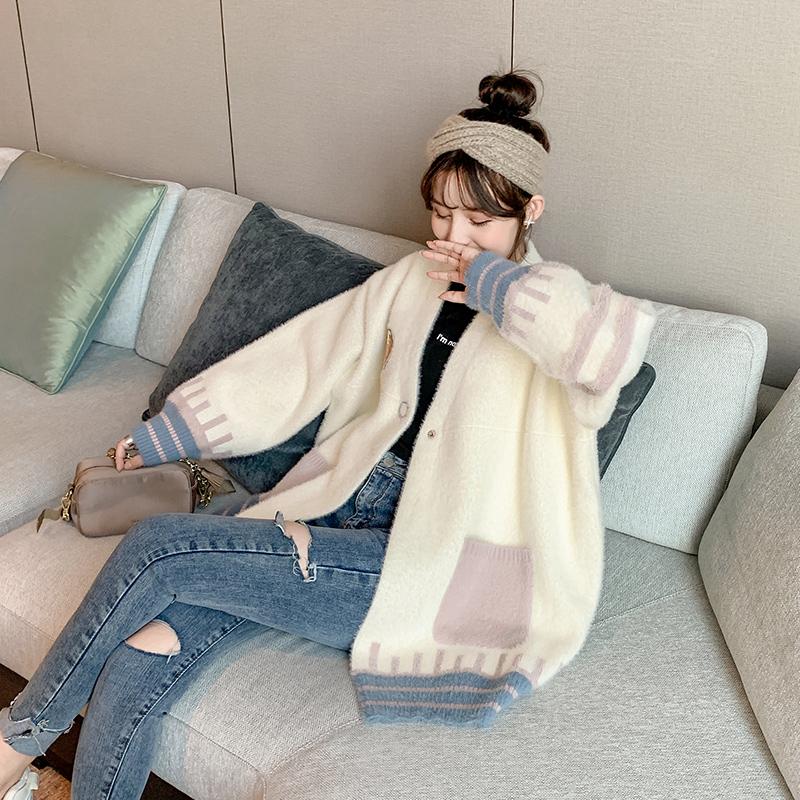 宽松网红很仙的毛衣开衫女2019秋冬新款韩版中长款仿貂绒大衣外套满35元减30元