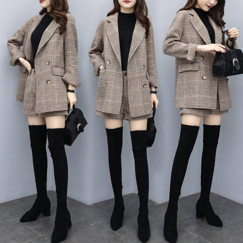 小西装毛呢短裤套装女2019秋冬新款流行格纹洋气宽松显瘦两件套裤