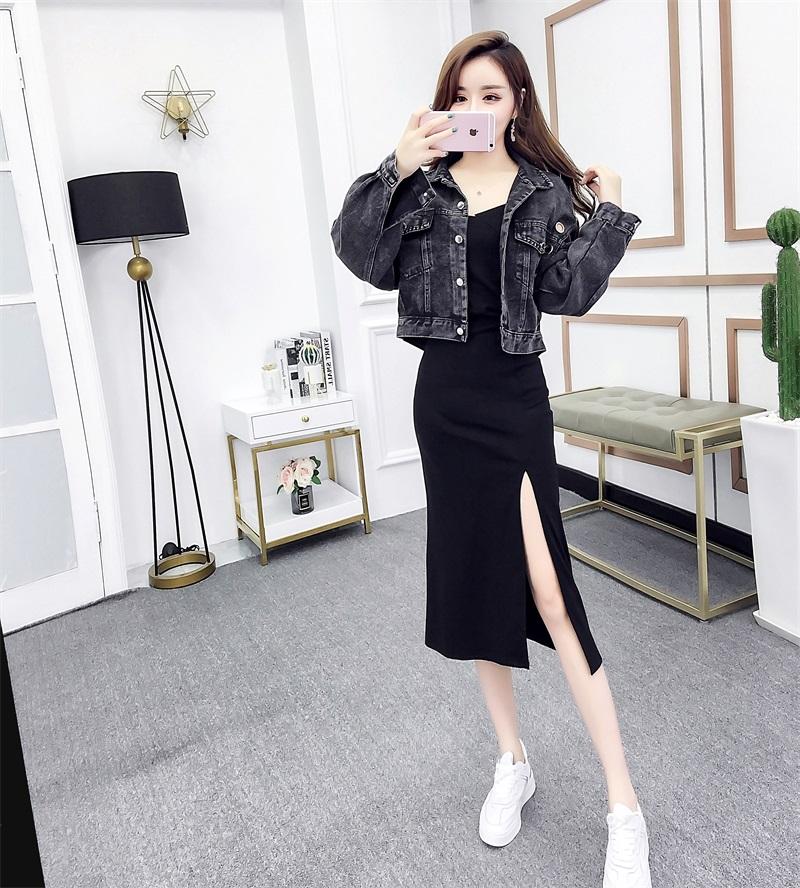 2019网红同款新牛仔外套短款吊带裙连衣裙时尚两件套开叉裙套装裙