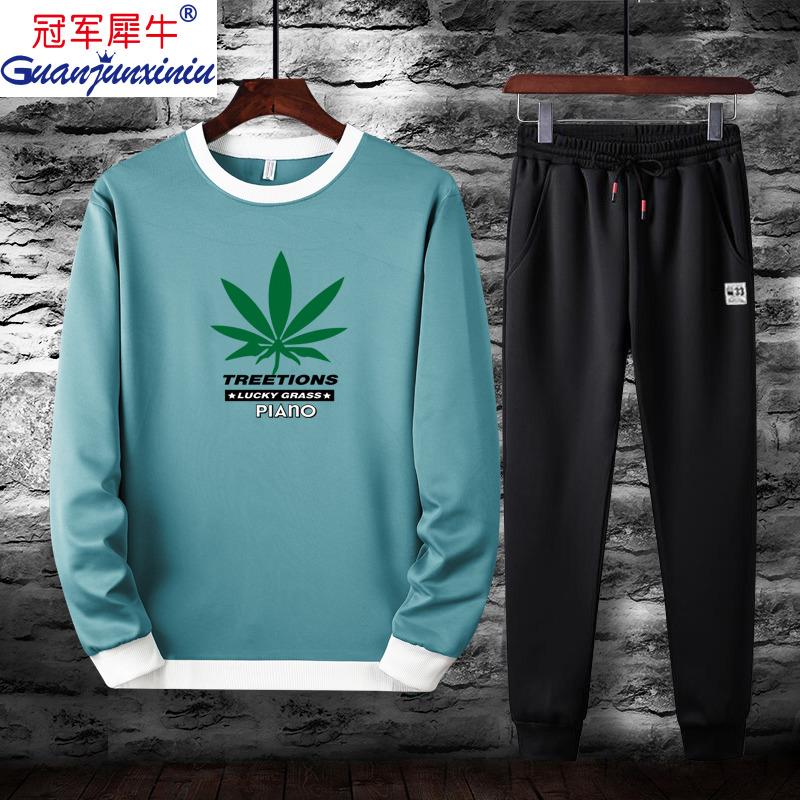 冠军犀牛新款运动休闲套装青年男士休闲T恤裤子套装