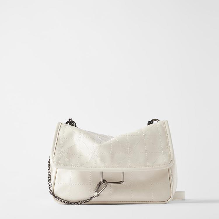TRF ZARA女包2020新款小香风链条包白色摇滚风软质单肩斜挎流浪包