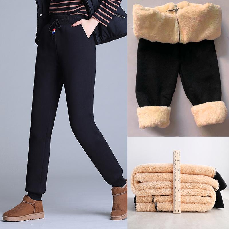 羊羔绒女裤子秋冬外穿加绒卫裤宽松哈伦加厚保暖休闲束脚运动裤女