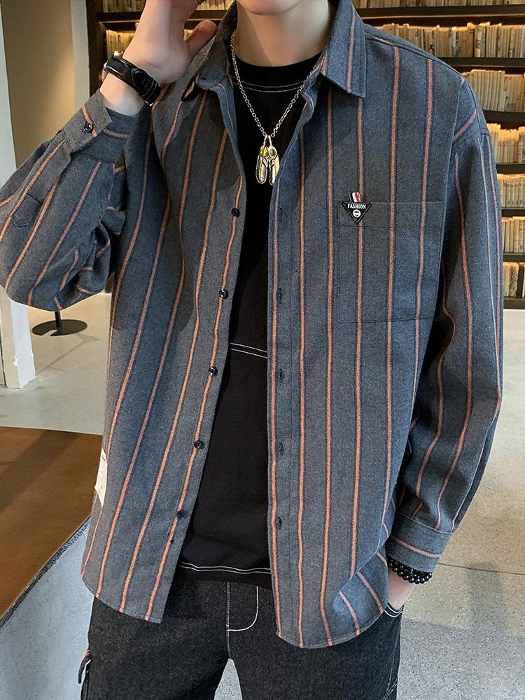 长袖条纹衬衫男秋季外套韩版潮流帅气春秋装上衣休闲衬衣宽松寸衫