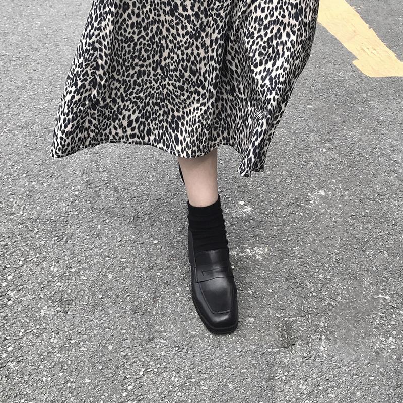 四幕定制鞋子女2019秋冬新款方头粗跟单鞋女英伦风百搭小皮鞋女