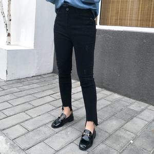张文武2018春装新款胖mm大码女装修身显瘦弹力破洞开叉九分牛仔裤