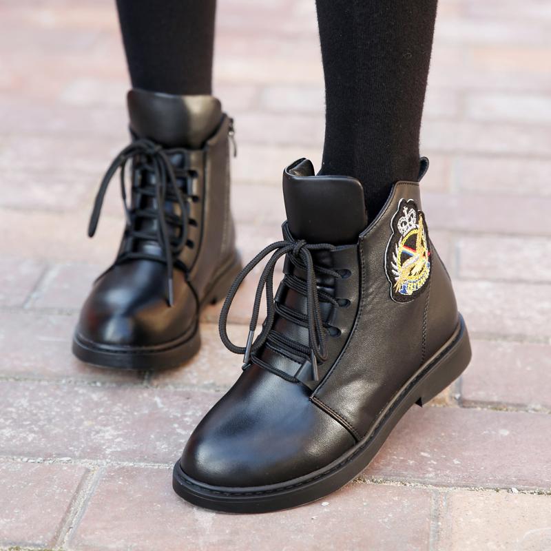 女童靴子秋冬短靴2017新款女童鞋冬季真皮加绒棉鞋儿童马丁靴单靴