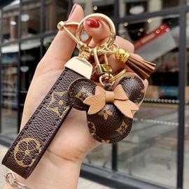 原创小清新车钥匙链挂件卡通网红潮流真皮简约钥匙扣女士包包挂饰