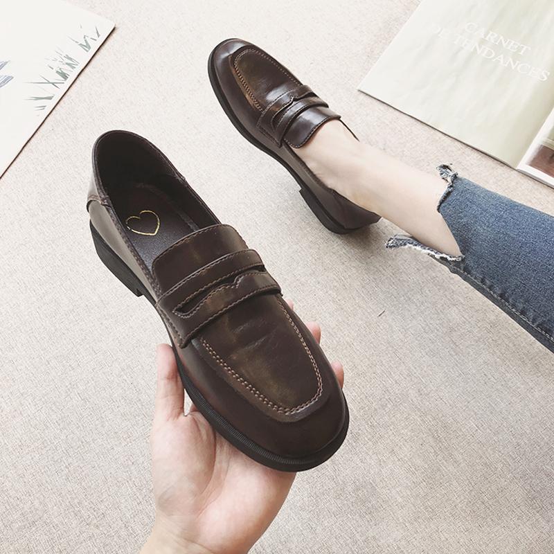 小皮鞋女英伦女鞋2019新款秋鞋百搭平底复古单鞋秋季一脚蹬豆豆鞋