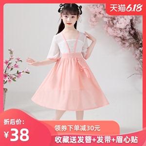 2020夏汉服女童连衣裙短袖古装仙女改良中国风儿童飘逸唐装连衣裙