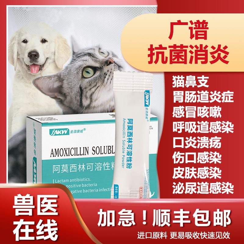 狗猫用阿莫西林粉 猫鼻支呕吐消炎鼻吱猫咪感冒口炎猫支鼻治疗药